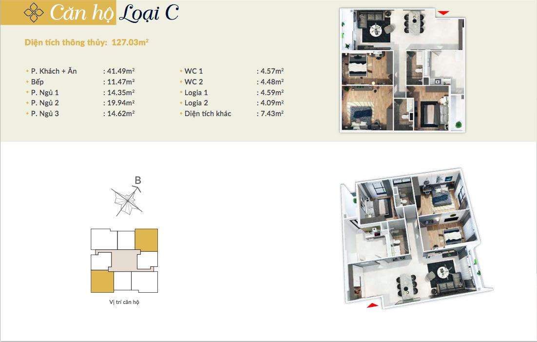 Thiết kế căn hộ loại C - 127,03m2 - 3PN, 2VS chung cư Bohemia Residence