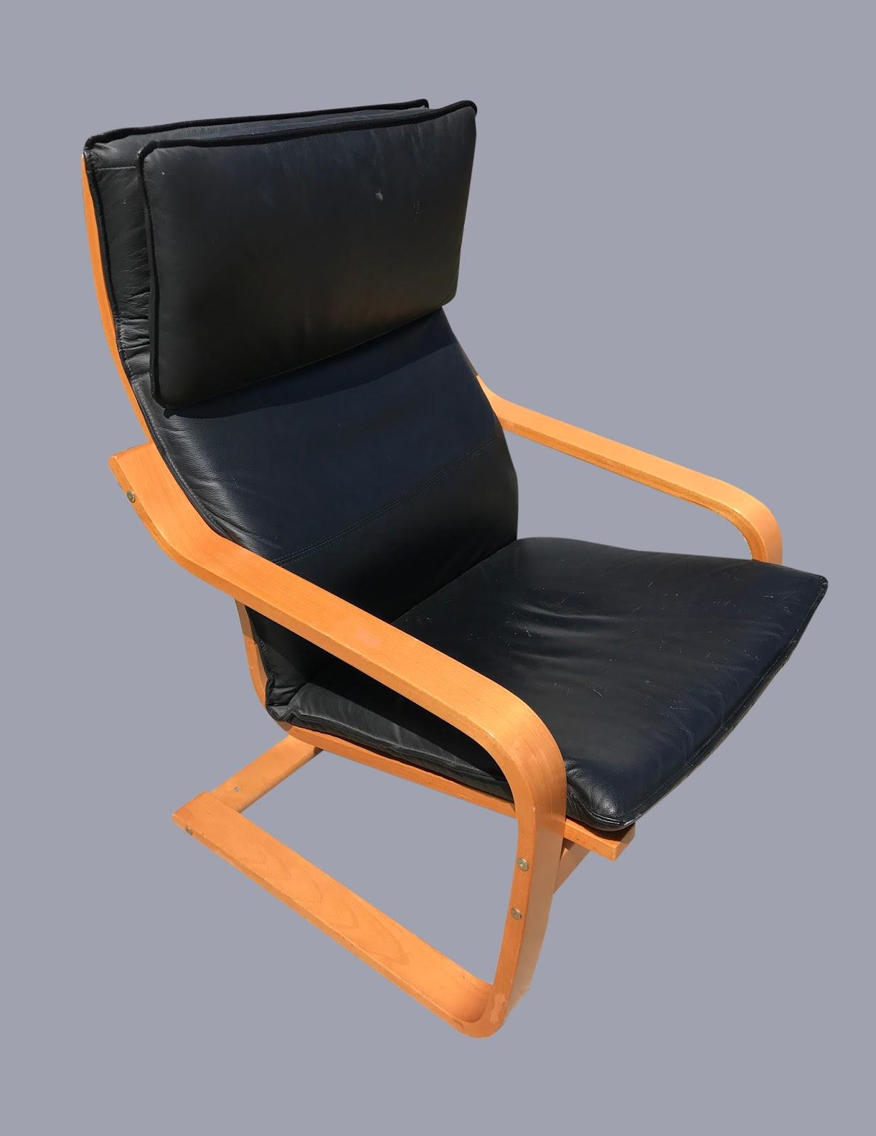 Uhuru furniture collectibles black leather ikea poang chair 75 sold - Ikea poang chair leather ...