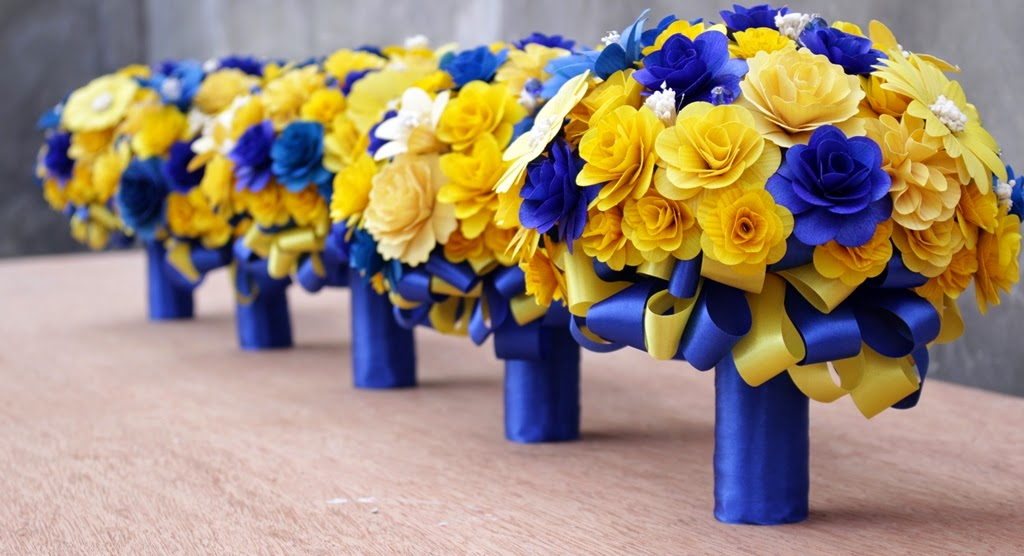 Royal Blue And Yellow Wedding Bouquets Pomanders