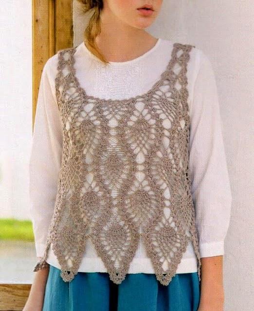 Crochet Patterns Vest : Crochet Sweaters: Crochet Vest Pattern For Women - Pineapple Lace ...