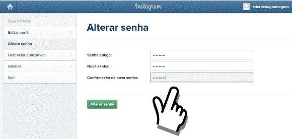 instagram mudar senha