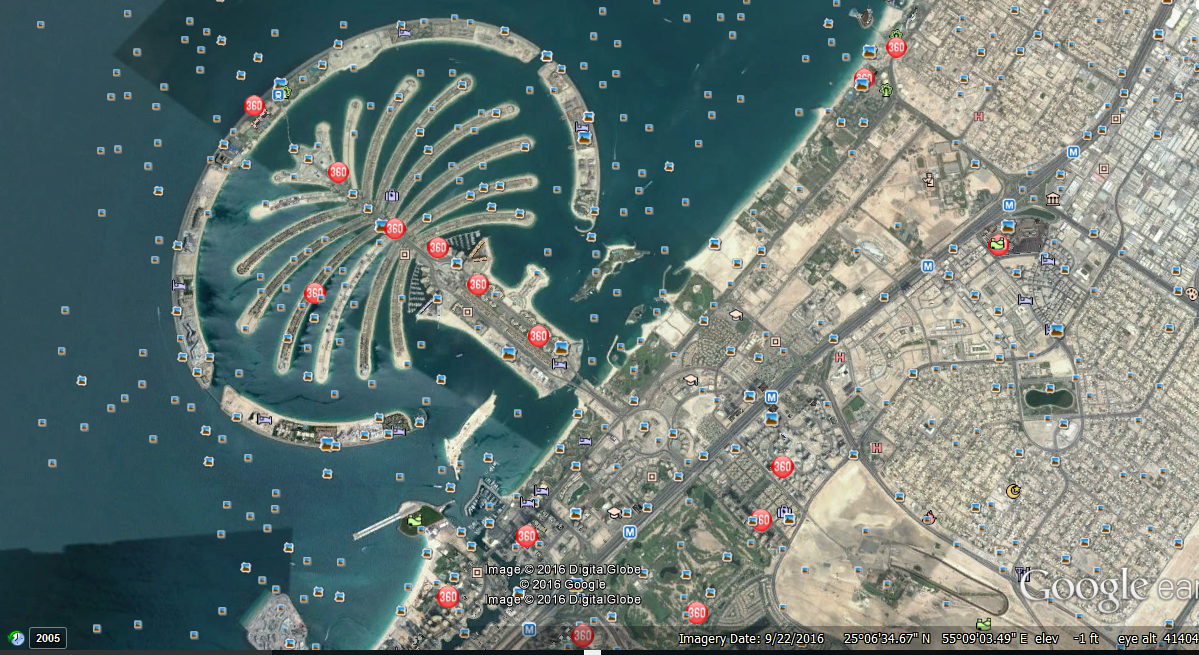 Time to talk tech travel back in time with google earth 2016 palm islands dubai gumiabroncs Image collections