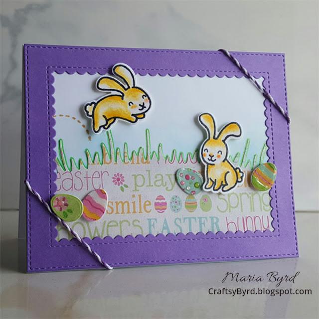 Lawn Fawn Easter Bunny Hop Card by Maria Byrd | CraftsyByrd.blogspot.com