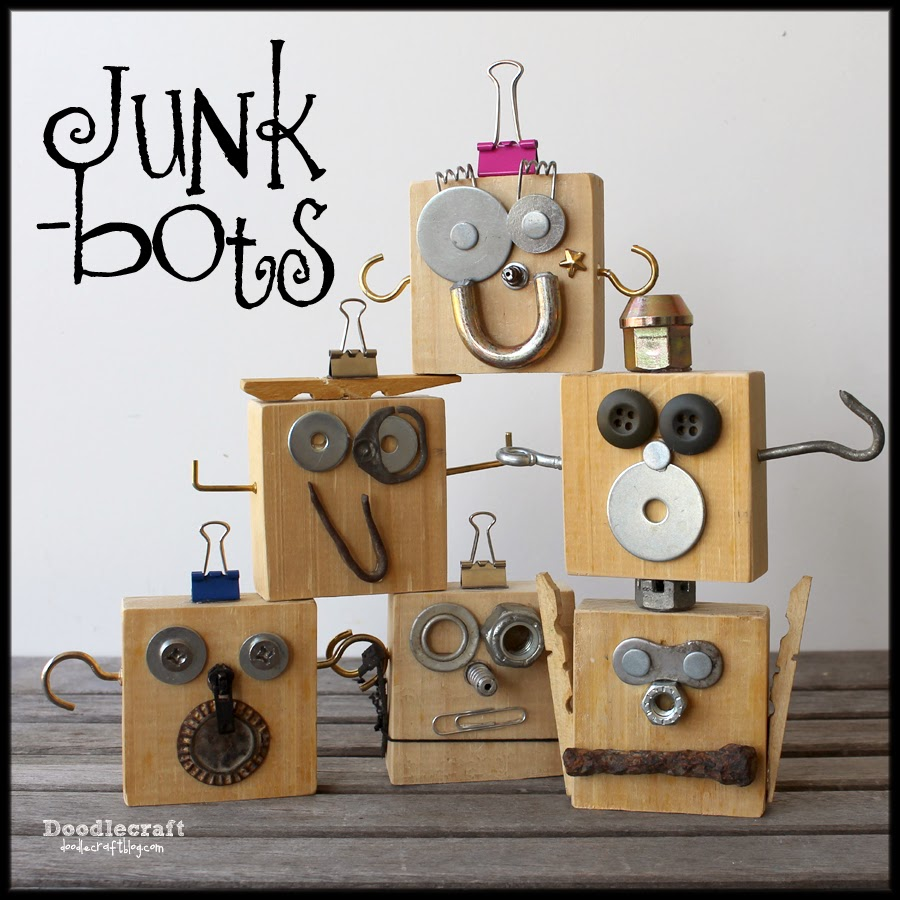 Junk Bots  My littlest boy used to collect pieces of metal that he found while we went on walks. We used scrap pieces of wood and make these little junkbots using his treasure trove of metal. We hung them on the Christmas tree as ornaments too!