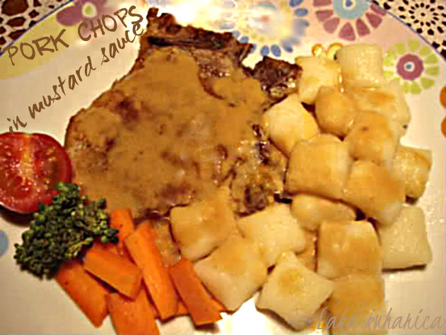 Pork chops in mustard sauce by Laka kuharica: quick and easy pork in savory and creamy sauce.