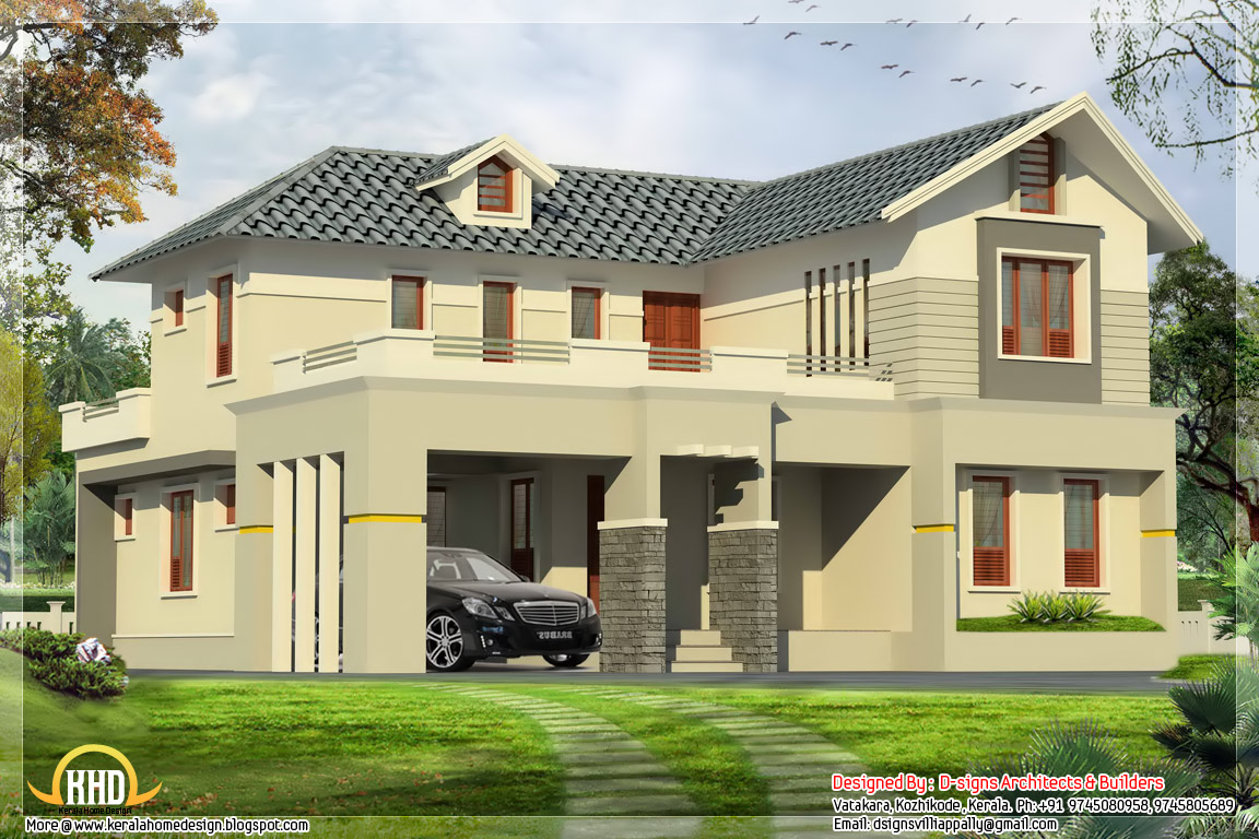 4 bedroom india house plan 2800 kerala home for Indian house portico models