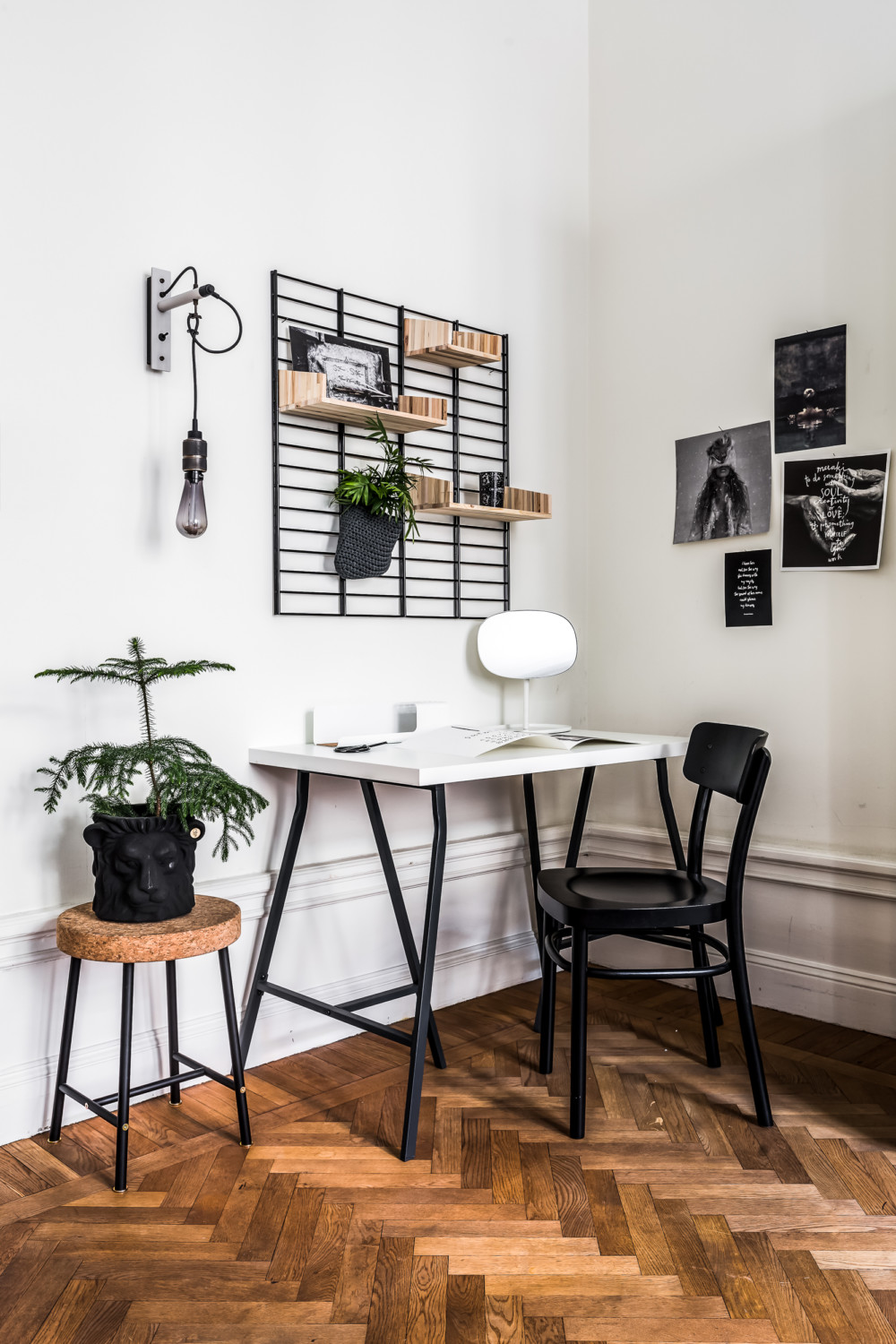 worskpace, home office, design work table, scandinavian interior, houseplant