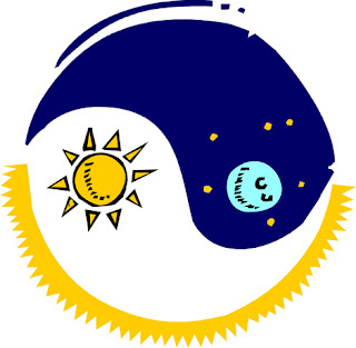 Clipart image of a yin yang symbol featuring day and night