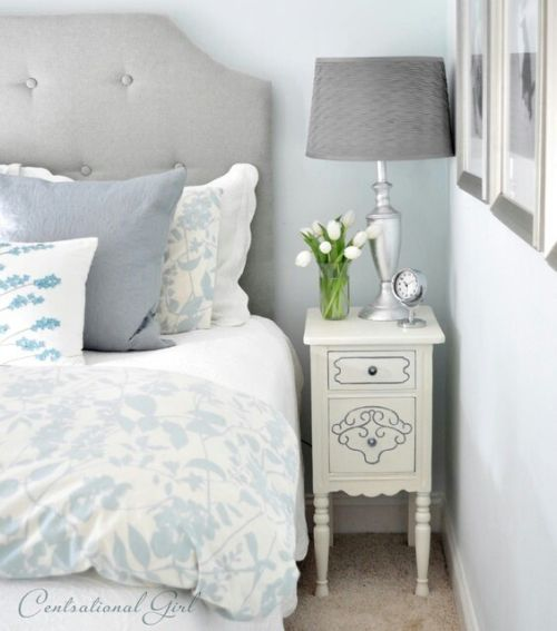 soft and cosy grey and light blue bedroom