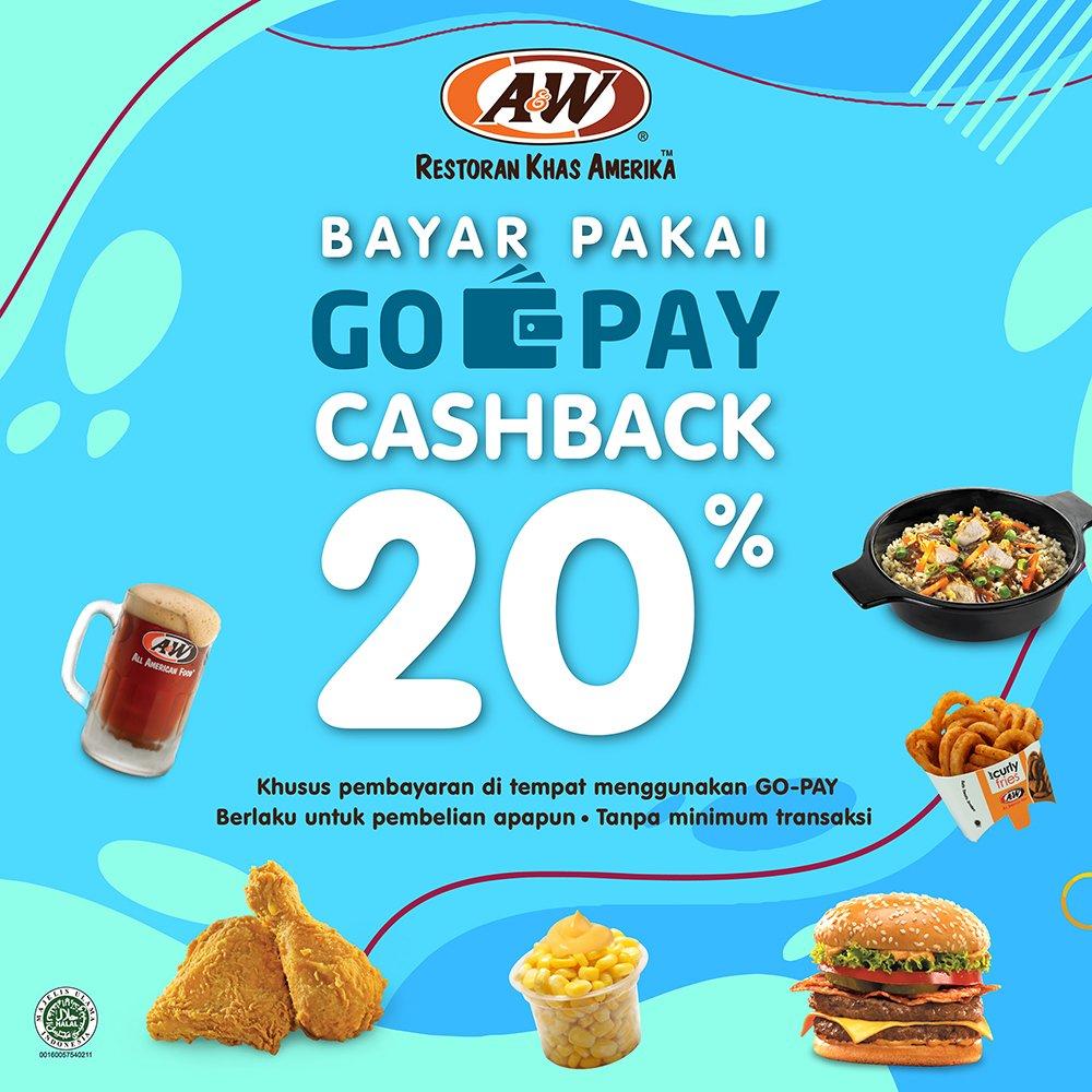 #A&W - #Promo #Cashback 20% Pakai #GOPAY Tanpa Min Transaksi