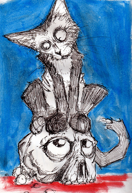 sketch paiting zombie cats