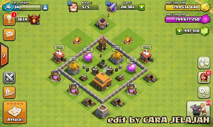 Desain Base Hybrid Clash Of Clans Town Hall 3 Update Terbaru 2