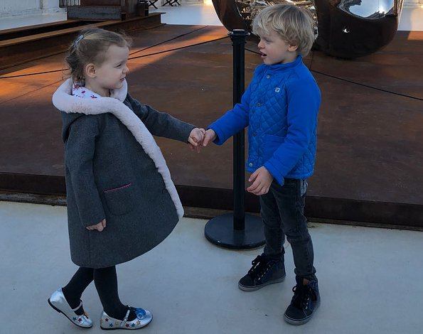 Princess Charlene, Prince Jacques and Princess Gabriella visited the Oceanographic Museum in Monaco. Valentine's day gift