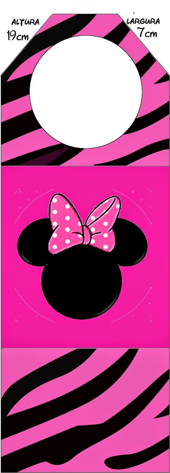Marcapaginas para Imprimir Gratis de Minnie Cebra Rosa.