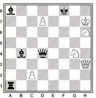 Estudio artístico de ajedrez compuesto por A. Lewandowski (5º Clasificado, 4º WCCT 1989-1992)