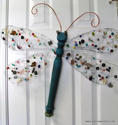 table leg dragonfly beaded wings