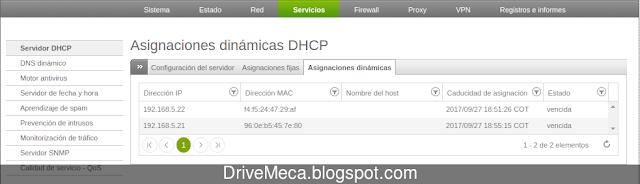Que ips estan asignadas por Endian Firewall DHCP
