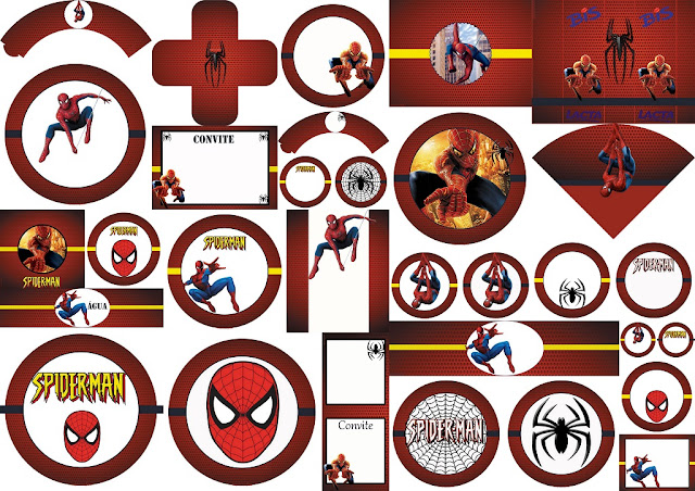 Spiderman: Free Printable Labels, Free Party Printables and Invitations.