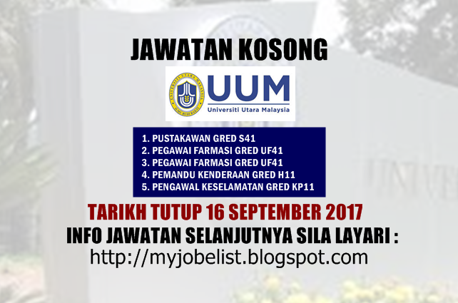Jawatan Kosong di Universiti Utara Malaysia (UUM) September 2017