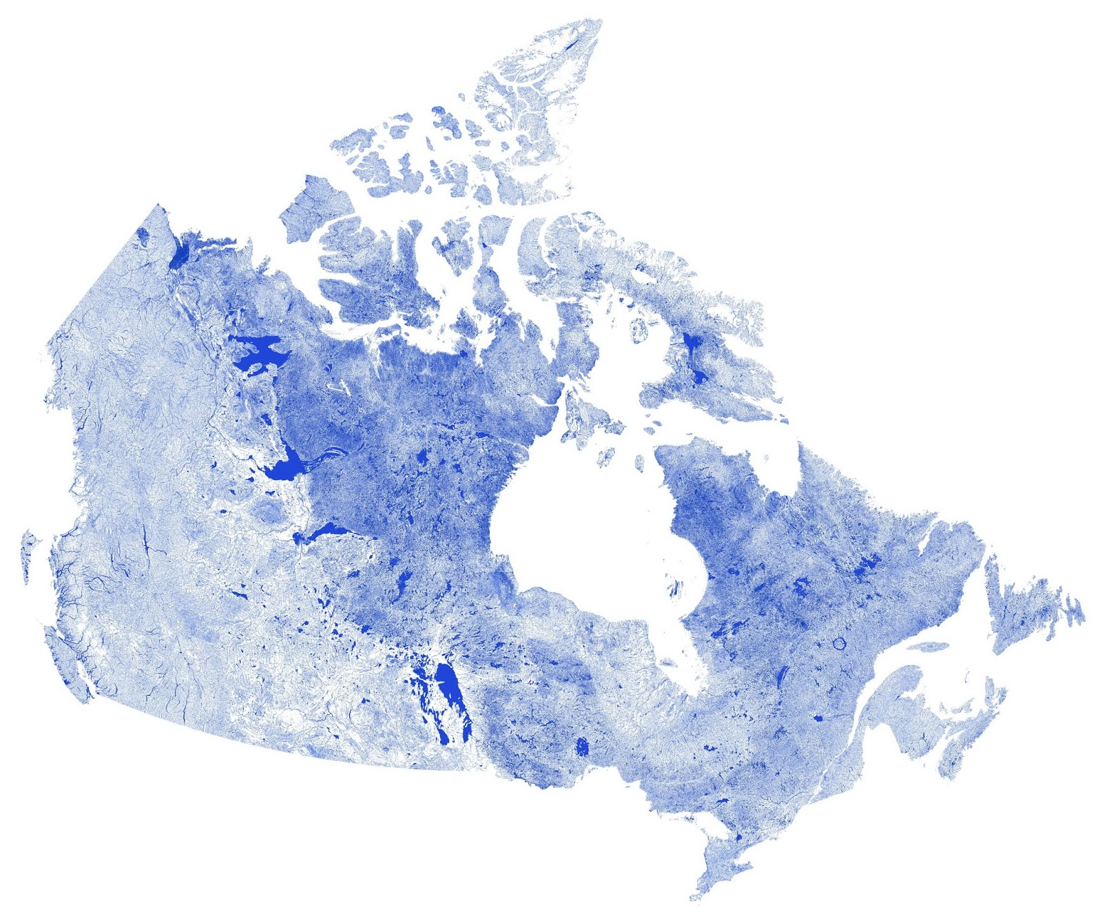 Canada mapped only by rivers, streams & lakes