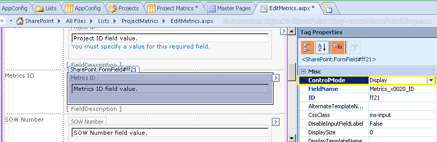 sharepoint designer 2010 make field read only