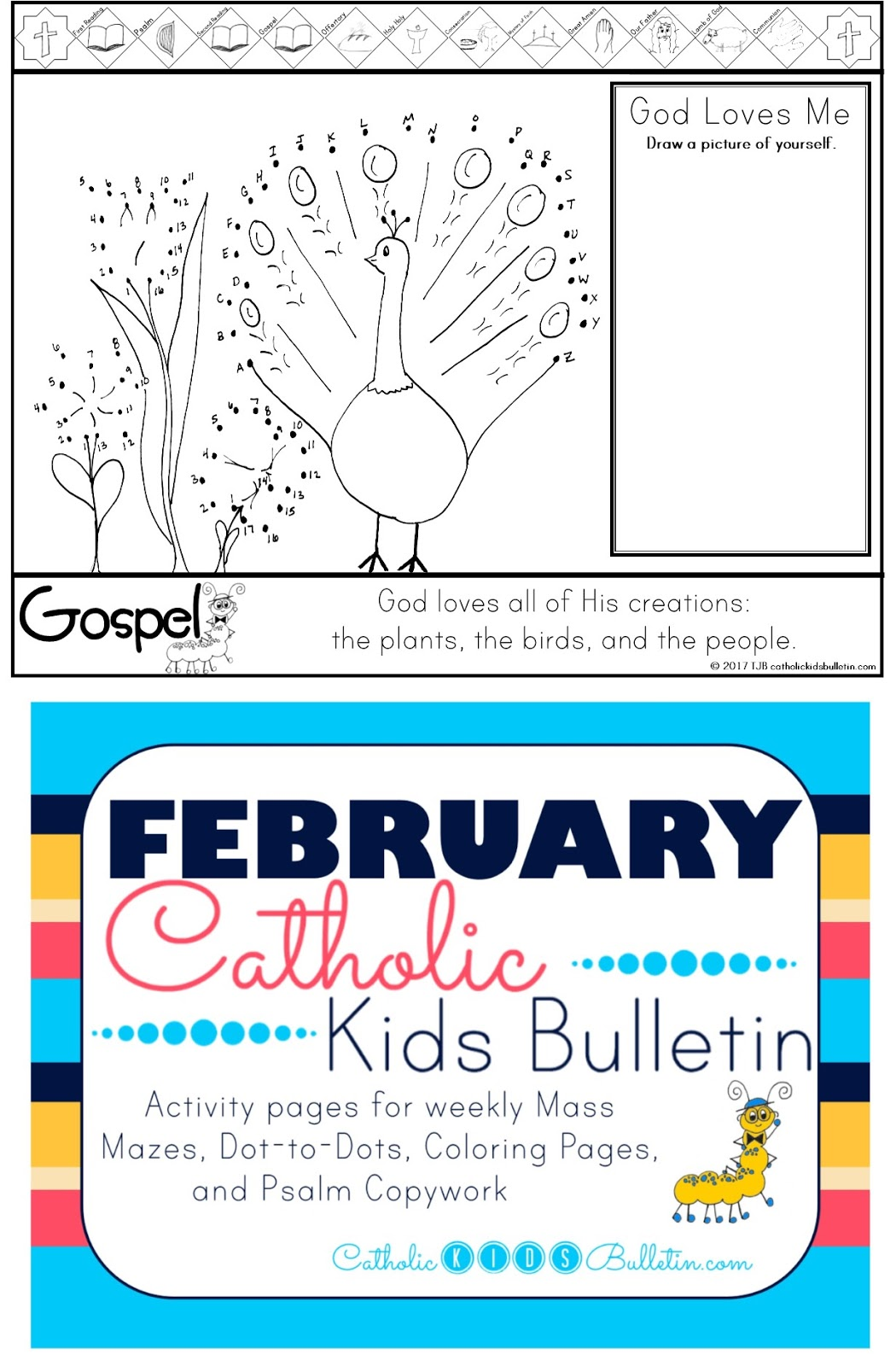4 Birds Catholic Kids Bulletin Coloring Page Matthew 6.24-34