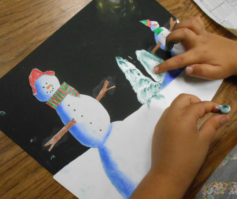 Fine lines winter pastel landscapes for 3rd grade christmas craft ideas
