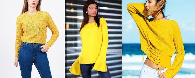 sarı kazak pantolon kombini bayan