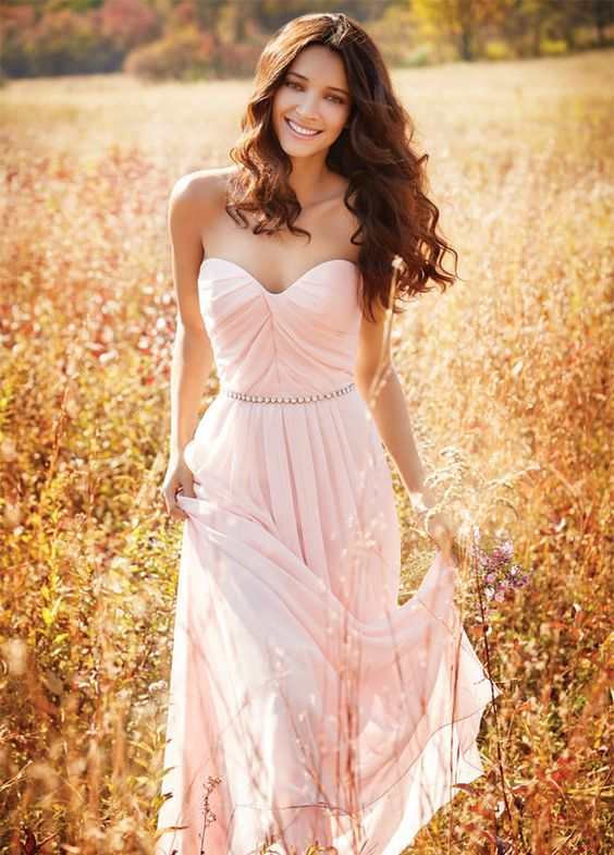 2017 Elegant A Line Pearl Pink Chiffon Sweetheart Long Bridesmaid Dress