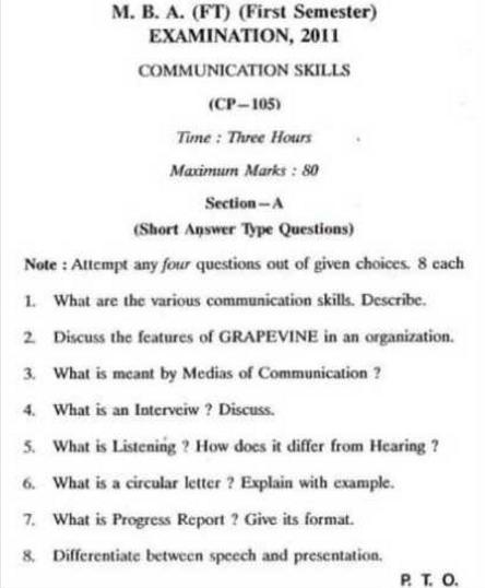 Barkatullah University MBA CP-105 Communication Skills 2011 Question