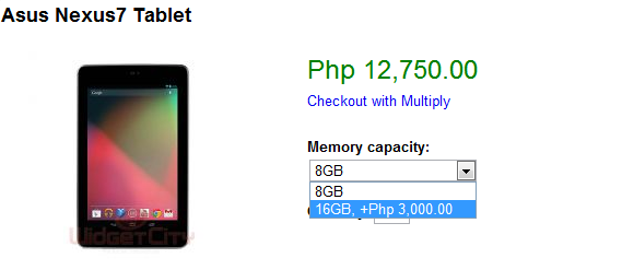 Widget City is selling Asus Nexus 7 tablet for as low as P12