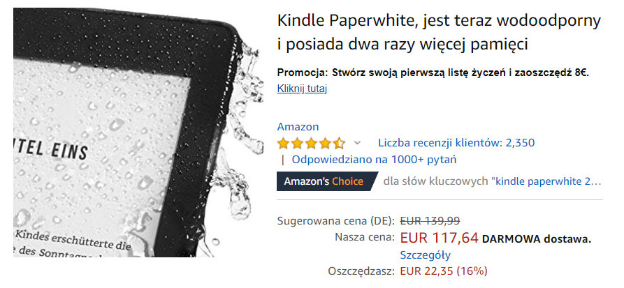 Kindle Paperwhite 4 przeceniony w Amazon.de