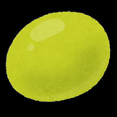 ブドウの粒のイラスト(緑)