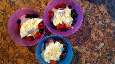 Yogurt with Fresh Fruit, Honey and Sprinkles