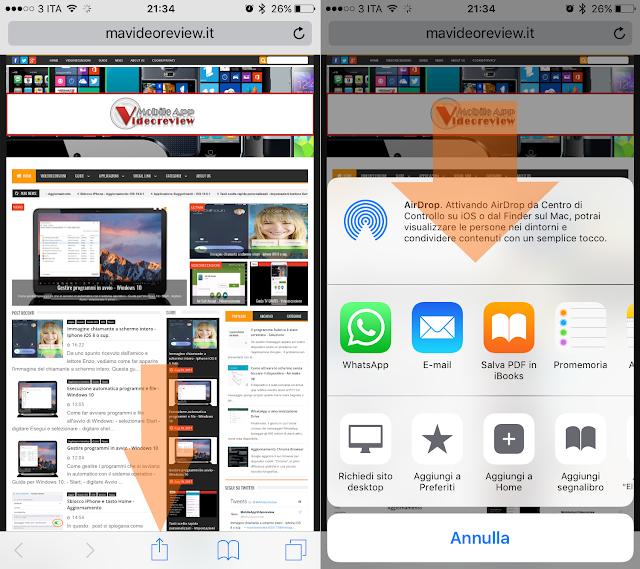 iOS - Safari - Condividi link