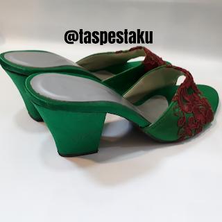 Sandal Slop Pesta Adat Jawa Satin Mix Broklat Bunga Timbul Cantik