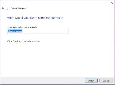 beri nama shutdown pada shortcut