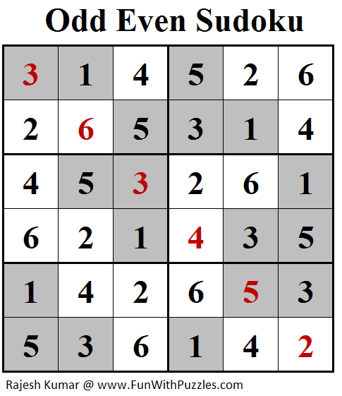 Odd Even Sudoku (Mini Sudoku Series #99) Solution