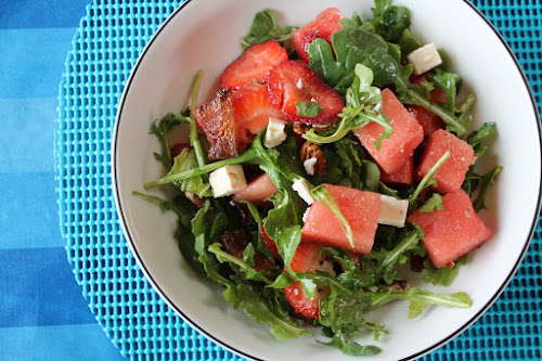 Watermelon, Strawberry and Bacon Salad