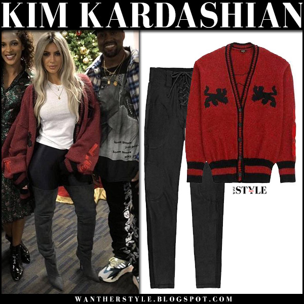 Kim Kardashian in dark red knit cardigan and black pants yeezy holiday fashion december 1