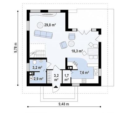 Bản vẽ mặt bằng ngôi nhà trên diện tích 67 m2