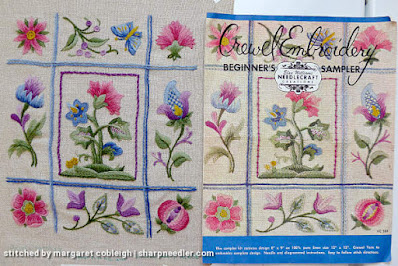 Crewel Sampler (by Elsa Williams): Comparison of embroidery with photo of original