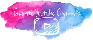 Pink, purple, blue watercolor background with the words favorite youtube channels and the youtube logo
