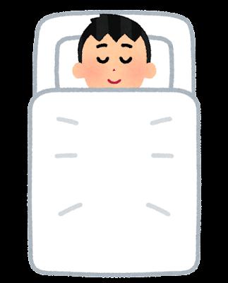 上から見た寝ている人のイラスト(男性)