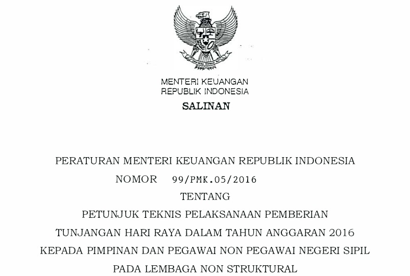 PERMENKEU-PMK No 99 Thn 2016 Juknis THR Non PNS