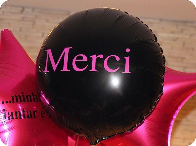 Merci - Aniversário Chanel - Balões Metalizados com Gás Hélio