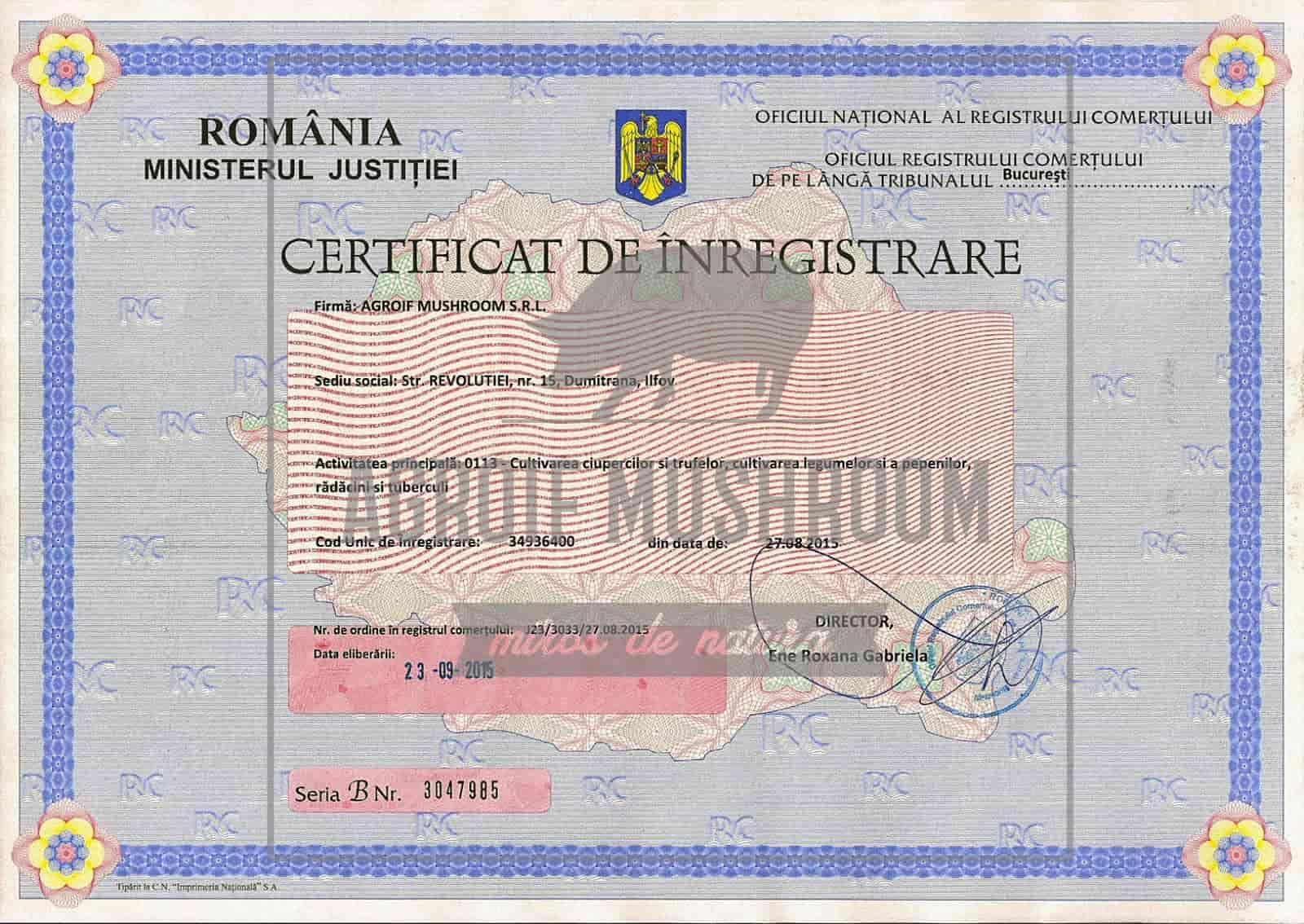 Регистрационный сертификат Agroif Mushroom