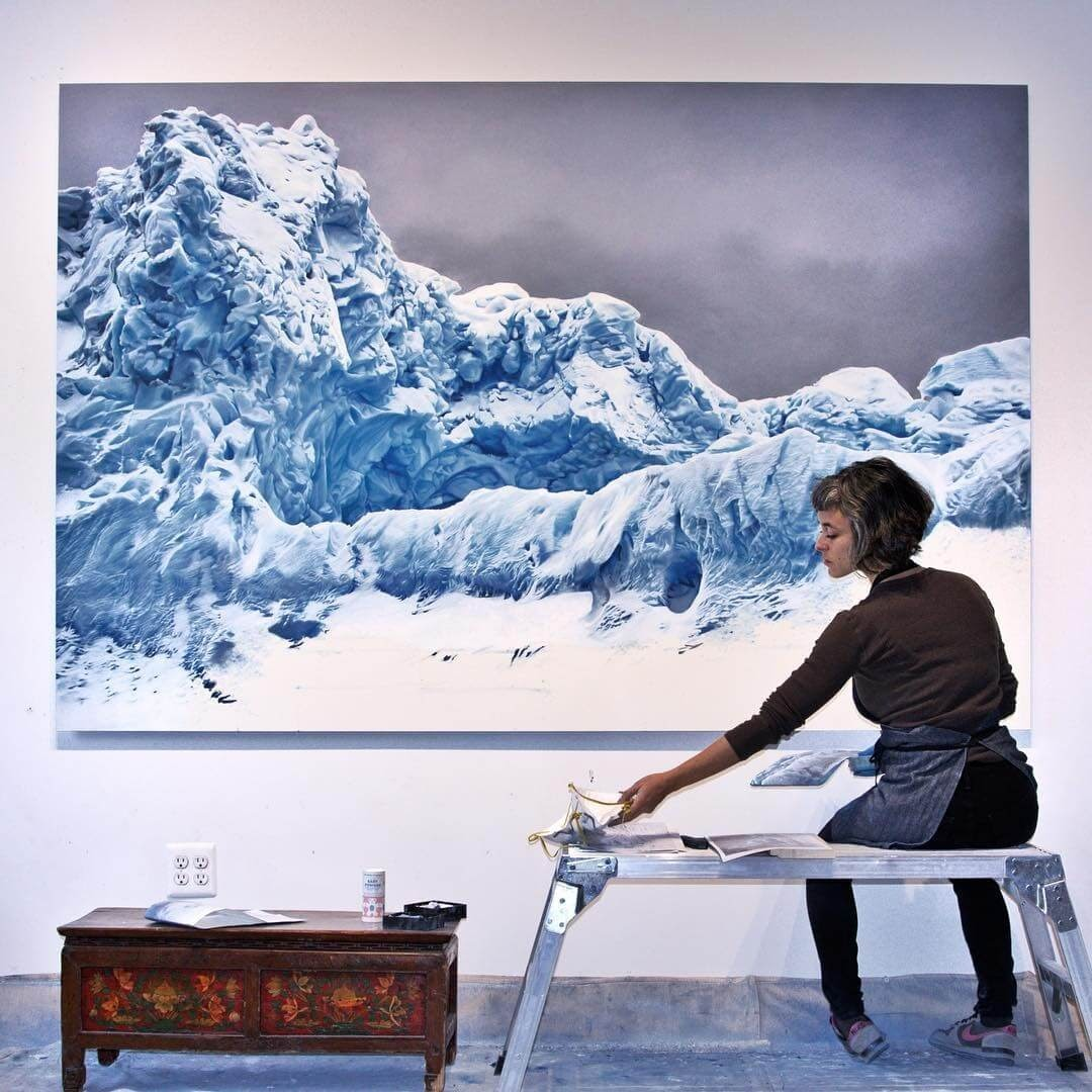 01-Antarctica-Zaria-Forman-Ice-Snow-and-Water-Pastel-Drawings-www-designstack-co