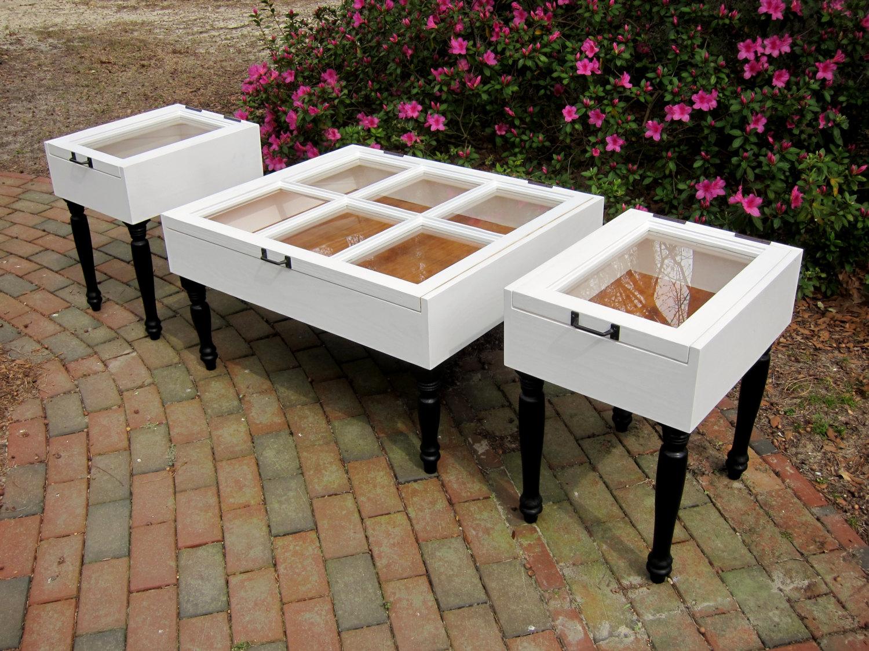 plantation design sash window coffee table set shadow boxes with antique pine interiors