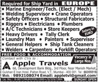 Shipyard jobs in Europe - Interview in Mumbai